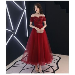 Fashion Medium length Red Tulle Semi Formal Dress With Appliques/Sequines Lace up Off The Shoulder Dress