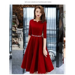 Summer A-line Medium length Red Chiffon Semi Formal Dress With Sashes Zipper Back Half Sleeve Little V neck
