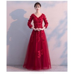 A-line Floor length Red Tulle Long Sleeve Formal Dress With Appliques Lace up V neck Dress