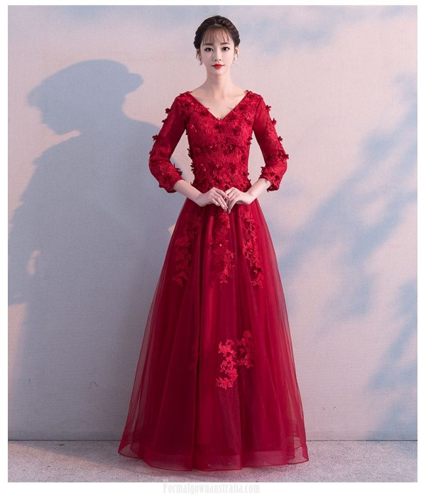 A-line Floor length Red Tulle Long Sleeve Formal Dress With Appliques Lace up V neck Dress New