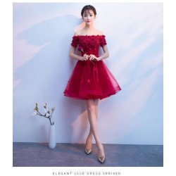 Sexy Short/Mini Red Tulle Semi Formal Dress With Appliques Off The Shoulder Lace up Dress