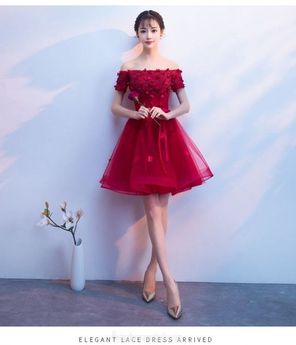 Sexy Short/Mini Red Tulle Semi Formal Dress With Appliques Off The Shoulder Lace up Dress New