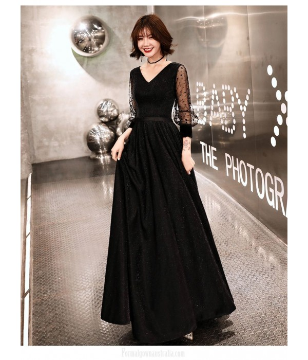 Noble Temperment A-line Floor length Black Tulle Long Sleeve Formal Dress Lace up V neck New