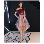 Fashion High Low Tulle Semi Formal Dress With Sashes Appliques Off The Shoulder Lace up New