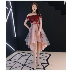 Fashion High Low Tulle Semi Formal Dress With Sashes Appliques Off The Shoulder Lace up