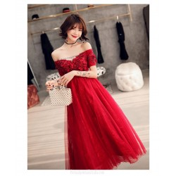 Allure Medium length Red Tulle Semi Formal Dress With Sequines/Appliques Lace up Off The Shoulder Dress