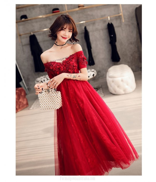 Allure Medium length Red Tulle Semi Formal Dress With Sequines/Appliques Lace up Off The Shoulder Dress New