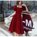 Fashion A-line Medium Length Red Velvet Semi Formal Dress With Button Bell Sleeve Zipper Back Square neck New