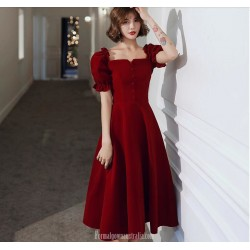 Fashion A-line Medium Length Red Velvet Semi Formal Dress With Button Bell Sleeve Zipper Back Square neck