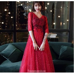 Brilliant Floor length Red Tulle Semi Formal Dress With Sequins/Appliques Half Sleeve Lace up V neck