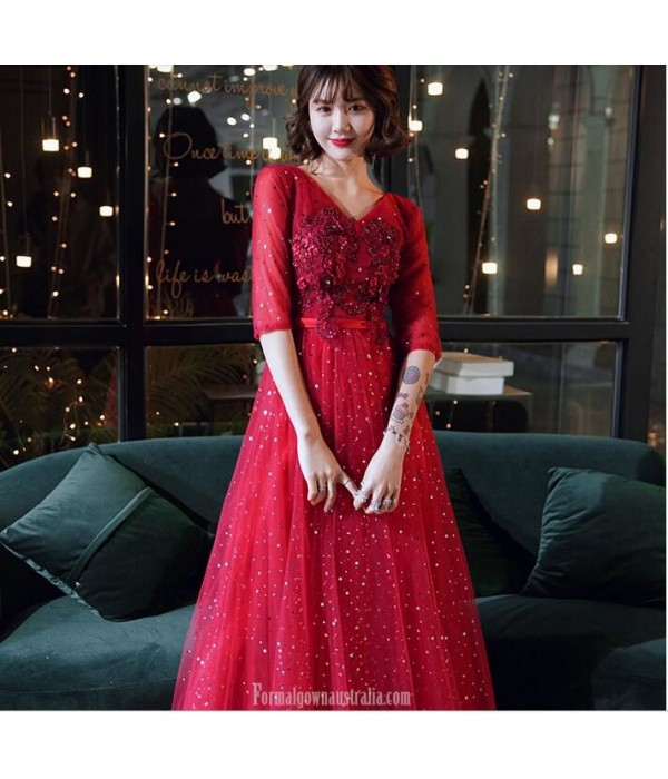 Brilliant Floor length Red Tulle Semi Formal Dress With Sequins/Appliques Half Sleeve Lace up V neck New
