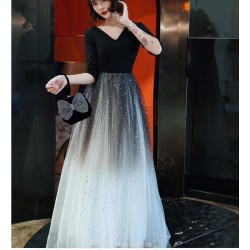 A-line Floor length Black Tulle High Elastic Cotton Semi Formal Dress With Sequins Half Sleeve Zipper Back V neck
