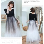 A-line Floor length Black Tulle High Elastic Cotton Semi Formal Dress With Sequins Half Sleeve Zipper Back V neck New