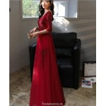 Allure Floor length Chiffon Red Semi Formal Dress With Sashes Zipper Back Half Sleeve V neck New