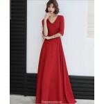 Allure Floor length Chiffon Red Semi Formal Dress With Sashes Zipper Back Half Sleeve V neck New