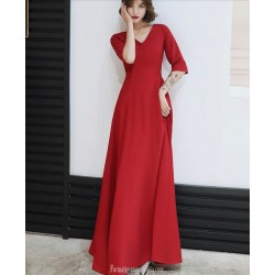 Allure Floor length Chiffon Red Semi Formal Dress With Sashes Zipper Back Half Sleeve V neck