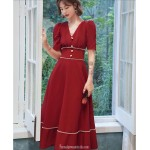 Cute Medium Length Chiffon Red Semi Formal Dress With Button Short Sleeve Zipper Back V neck New