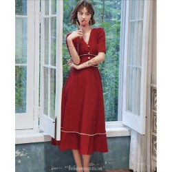 Cute Medium Length  Chiffon Red Semi Formal Dress With Button Short Sleeve Zipper Back V neck