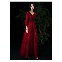 Classic A-line Floor length Red Tulle Long Sleeve Formal Dress With Sequines/Appliques V neck Lace up Back