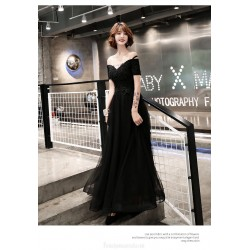 Noble Temperament Floor-length Lace-up Back Off The ShoulderFormal Dress With Appliques