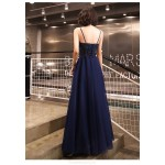 Sexy A-line Floor-length Spaghetti Straps Lace-up Back Blue Tulle Formal Dress With Sequines New