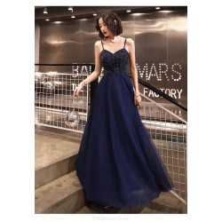 Sexy A-line Floor-length Spaghetti Straps Lace-up Back Blue Tulle Formal Dress With Sequines