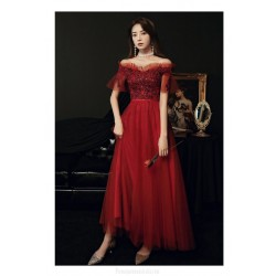 Noble A-line Floor-length Lace-up Back Off The Shoulder Red Tulle Formal Dress With Sequines