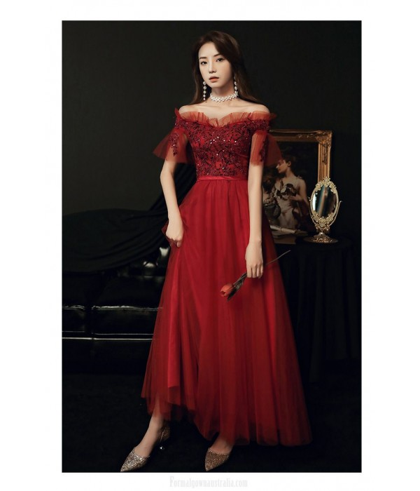 Noble A-line Floor-length Lace-up Back Off The Shoulder Red Tulle Formal Dress With Sequines New