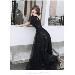 Brilliant Floor-length Lace-up Back Black Tulle Formal Dress With Sequines Spaghetti Straps New