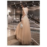 Fashion Sexy Floor-length Lace-up Back Champagne Tulle Formal Dress With Sequines Spaghetti Straps New