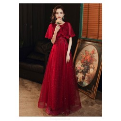Fashion A-line Floor-length Lace-up Back Shawl crew neck Red Tulle Formal Dress With Sequines