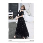 Noble Temperament Floor-length Lace-up Back Black Tulle Formal Dress With Sequines V-neck New