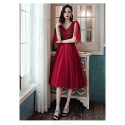 Brilliant A-line Medium-length Lace-up Back Red Tulle Semi Formal Dress With Sequines V-neck