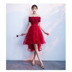 Fashion Short Red Tulle Front Short Rear Length Lace-up Back Off the Shoulder Formal Dress With Sequines/Appliques