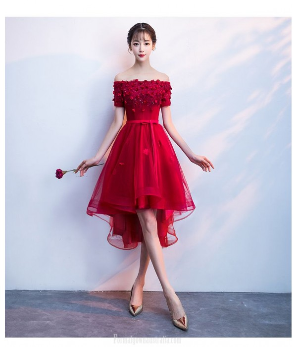 Fashion Short Red Tulle Front Short Rear Length Lace-up Back Off the Shoulder Formal Dress With Sequines/Appliques New
