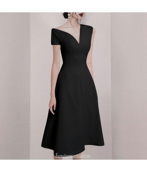Sexy Medium Length Black Chiffon Semi Formal Dress Invisible Zipper Back V-neck New