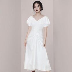 Fashion Elegent Medium-length White Semi Formal Dress Invisible Zipper Back V-neck