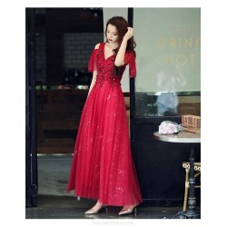 Brilliant Floor-length A-line Red Tulle Formal Dress With Sequines/Appliques V-neck Lace-up Back