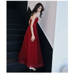 Noble Floor-length A-line Lace-up Back Red Tulle Formal Dress With Appliques Strapless New