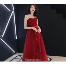 Noble Floor-length A-line Lace-up Back Red Tulle Formal Dress With Appliques Strapless