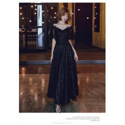 Noble Temperament Floor-length A-line Lace-up Back Black Tulle Formal Dress With Sequines Illusion-neck