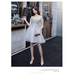 Sexy Short/Mini Off The Shoulder Lace-up Back Grey Tulle Semi Formal Dress With Appliques
