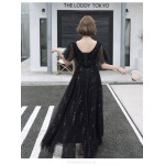 Noble Temperament A-line Floor-length Lace-up Back Black Tulle Formal Dress With Sequines V-neck New