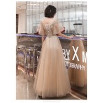 Fashion A-line Floor-length Lace-up Back Illusion-neck Champagne Tulle Formal Dress With Sequines New