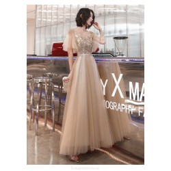 Fashion A-line Floor-length Lace-up Back Illusion-neck Champagne Tulle Formal Dress With Sequines