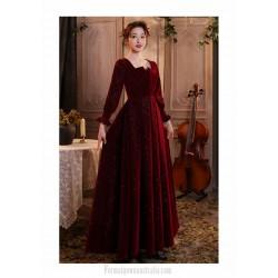 Fashion Flooe Length Burgundy Velvet Long Sleeve Semi Formal Dress Zipper Back Square Neck