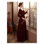Fashion Flooe Length Burgundy Velvet Long Sleeve Semi Formal Dress Zipper Back Square Neck New