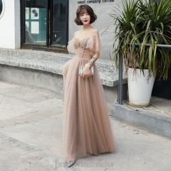 Fashion Floor Length Champagne Organza Formal Outfit With Sequines Lace up Crew Neck