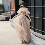 Fashion Floor Length Champagne Organza Formal Outfit With Sequines Lace up Crew Neck New