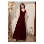 Elegant Floor Length Burgundry Velvet Formal Clothes With Beading Backless Zipper V neck New